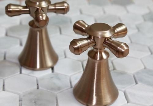 Delta Faucet Cidy Cross Handles Champagne Bronze Unlacquered Br Vintage