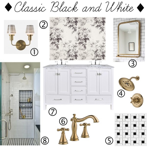 classic-bathroom-mood-board-black-white-marble-wallpaper-brass