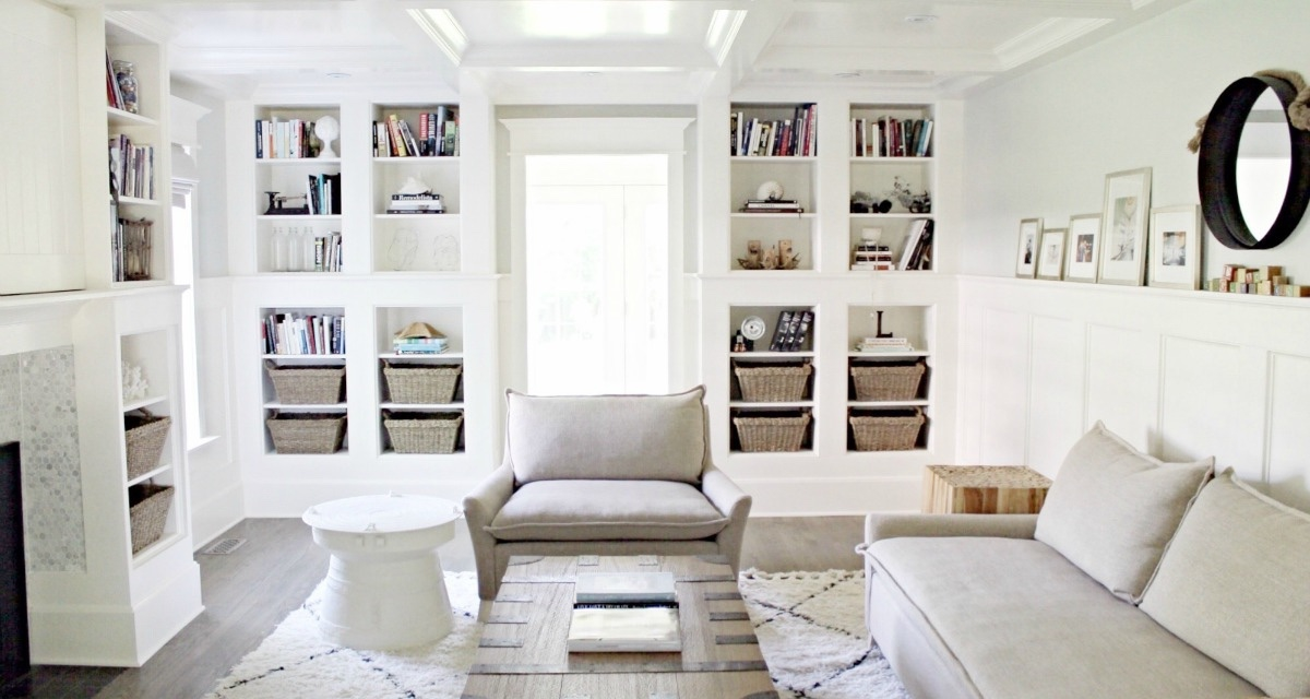 coffered-ceiling-built-in-bookcase-living-room-contemporary-bliss-sofa