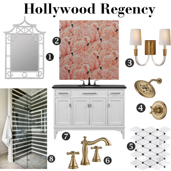 hollywood-regency-bathroom-mood-board-flamingo-wallpaper-black-white-brass