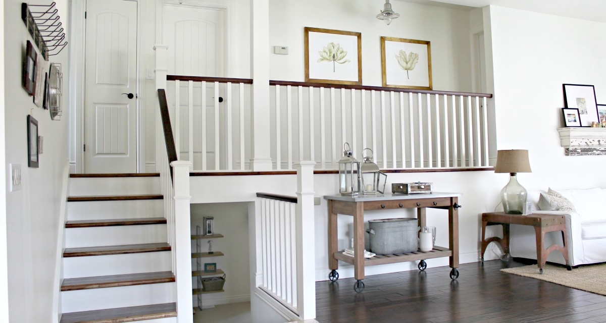 white-stair-case-modern-rustic-entry-pottery-barn-bar-cart
