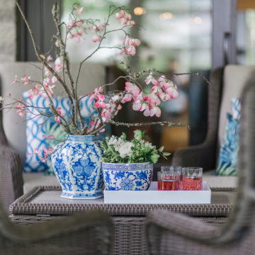 Blue and White and Blooms All Over: Hamptons Chic Patio Reveal
