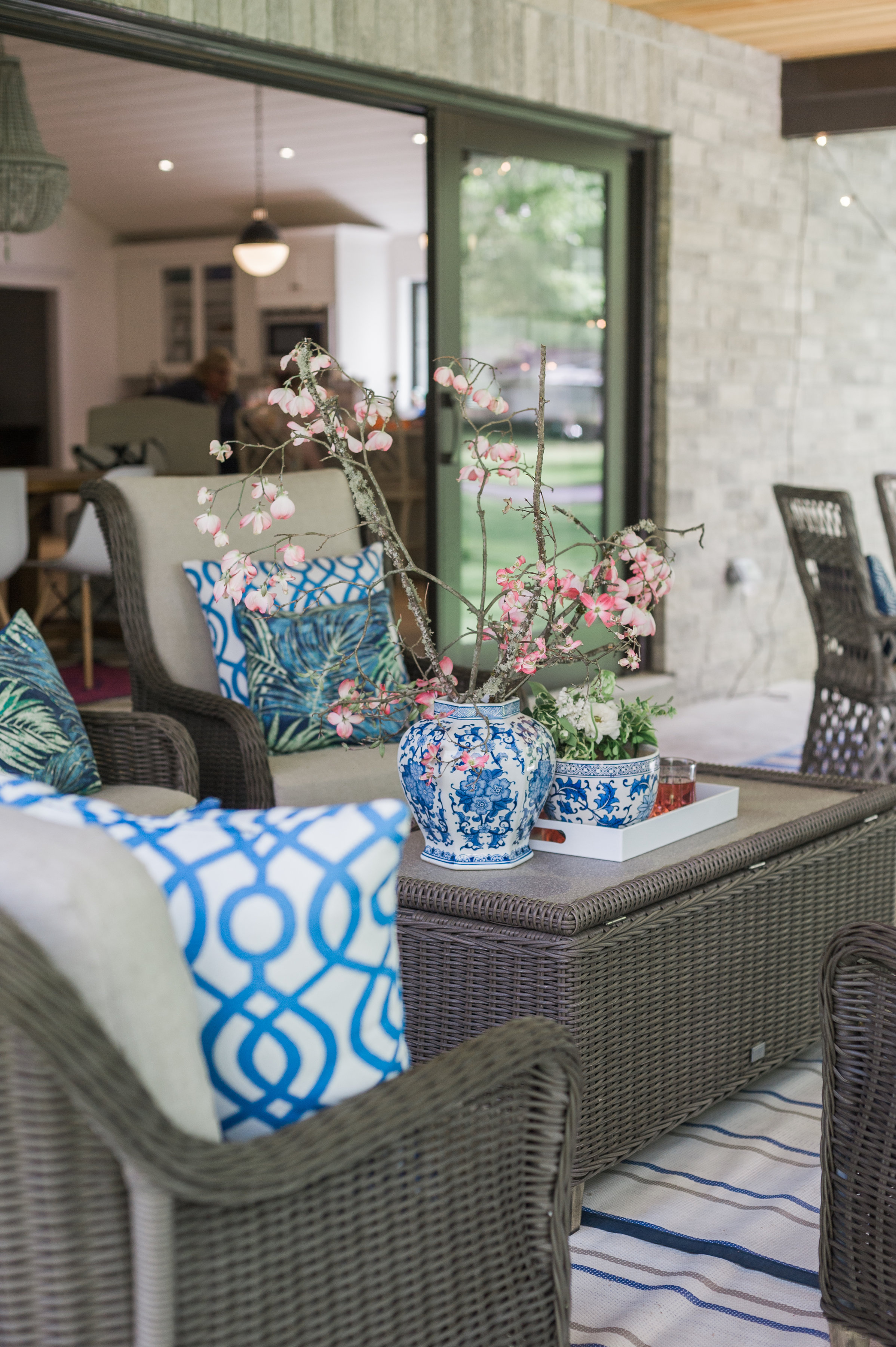Blue And White And Blooms All Over Hamptons Chic Patio