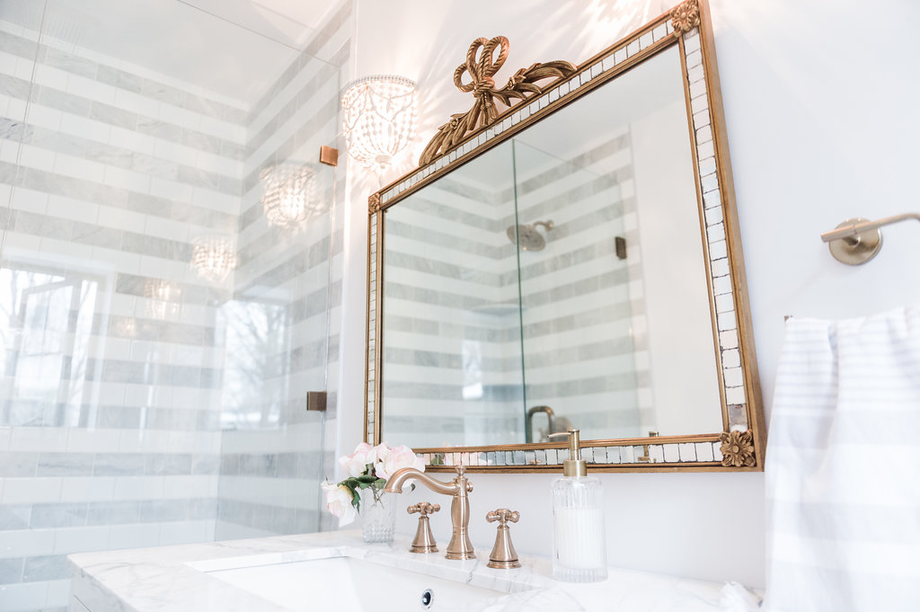 Striped Marble Bathroom Renovation Reveal