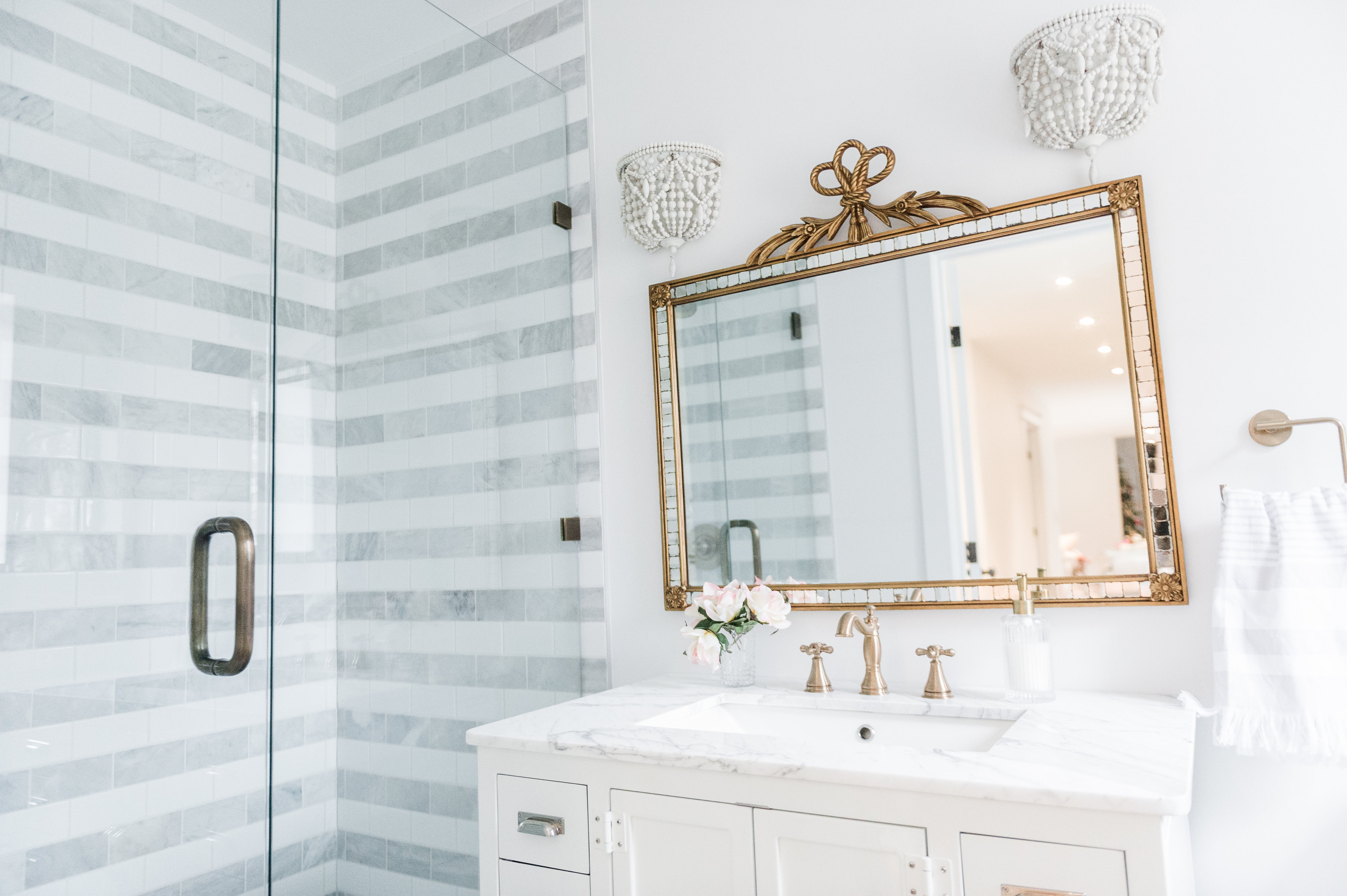 Striped Marble Bathroom Renovation