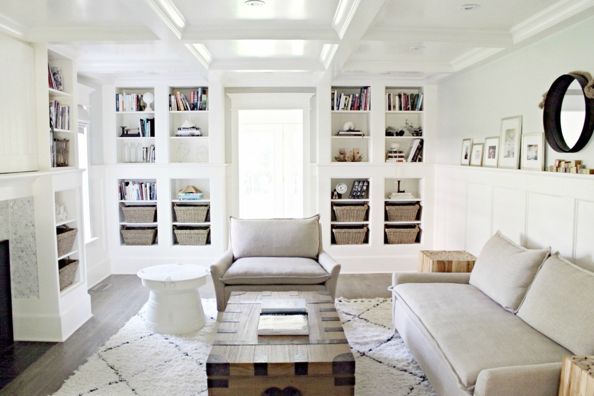 Coffered Ceiling Built In Bookcase Living Room Contemporary Bliss Sofa The Leslie Style