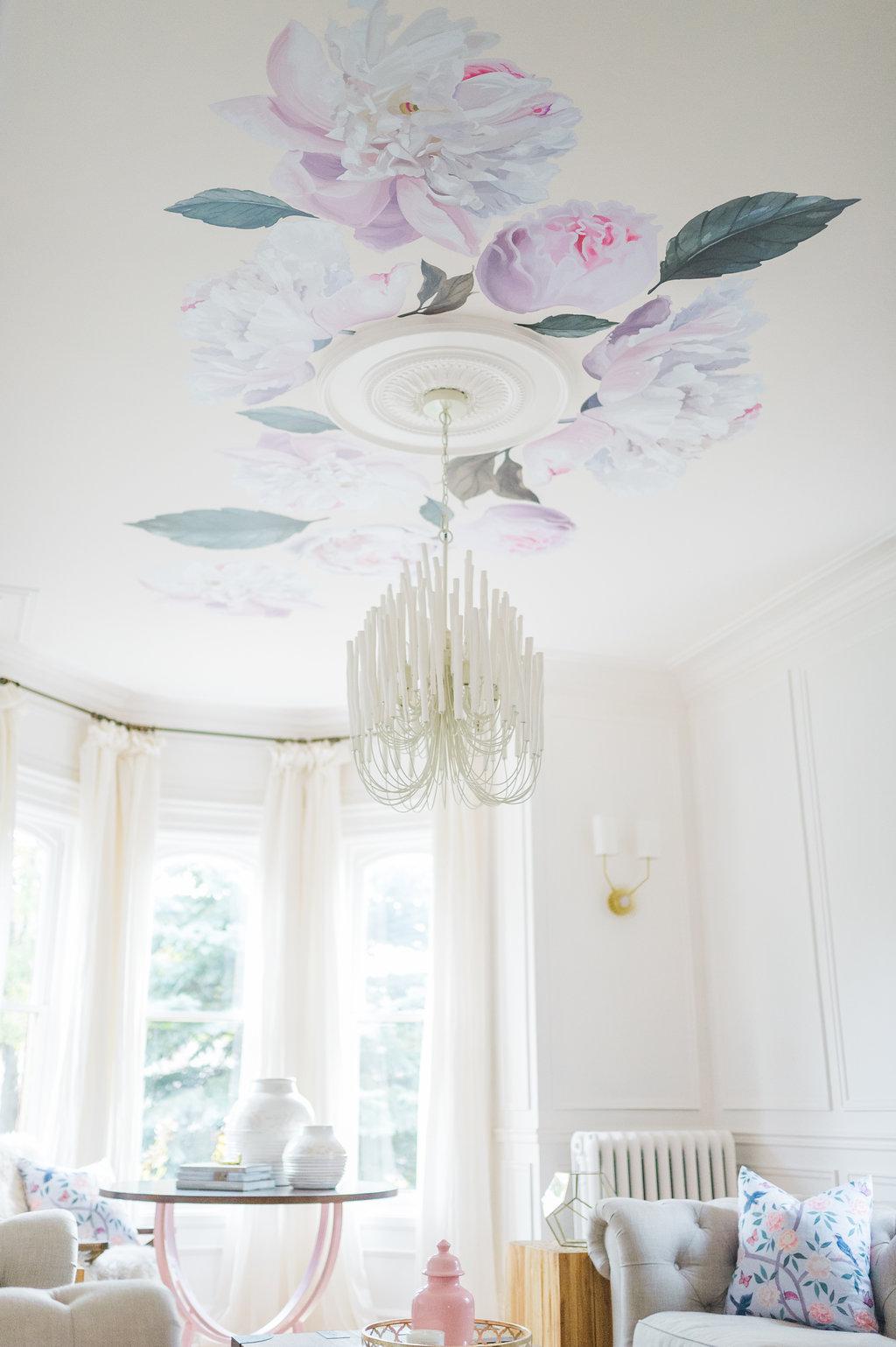 tilda chandelier ceiling medallion peony wallpaper decals drapery ...