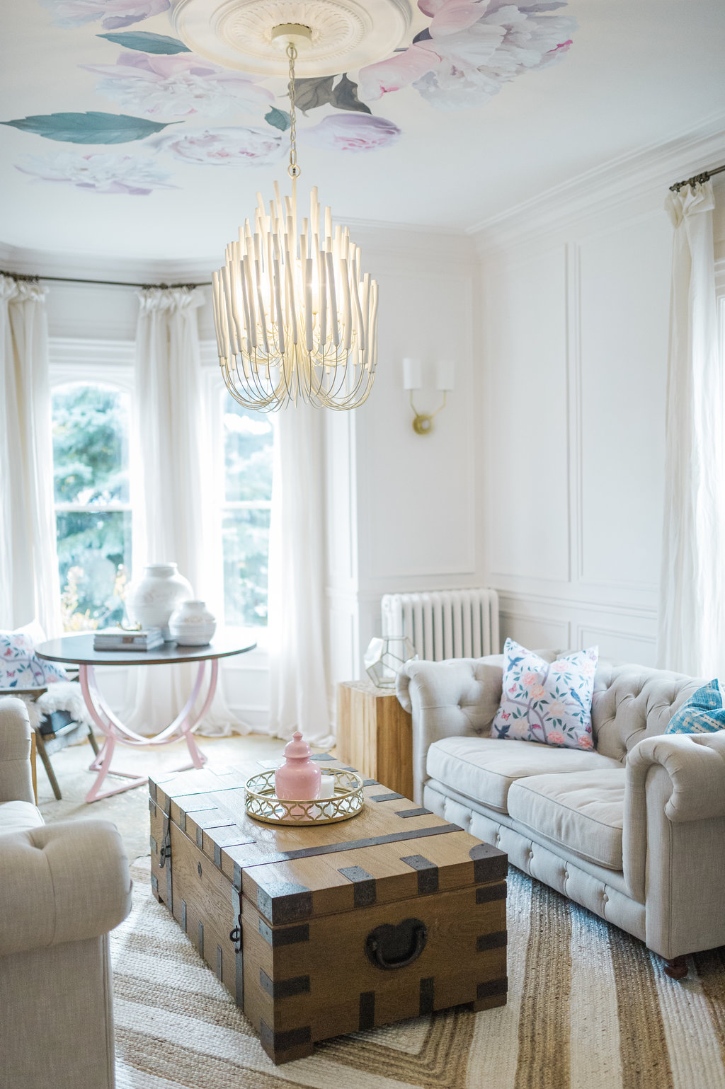 modern french country family room renovation reveal  the