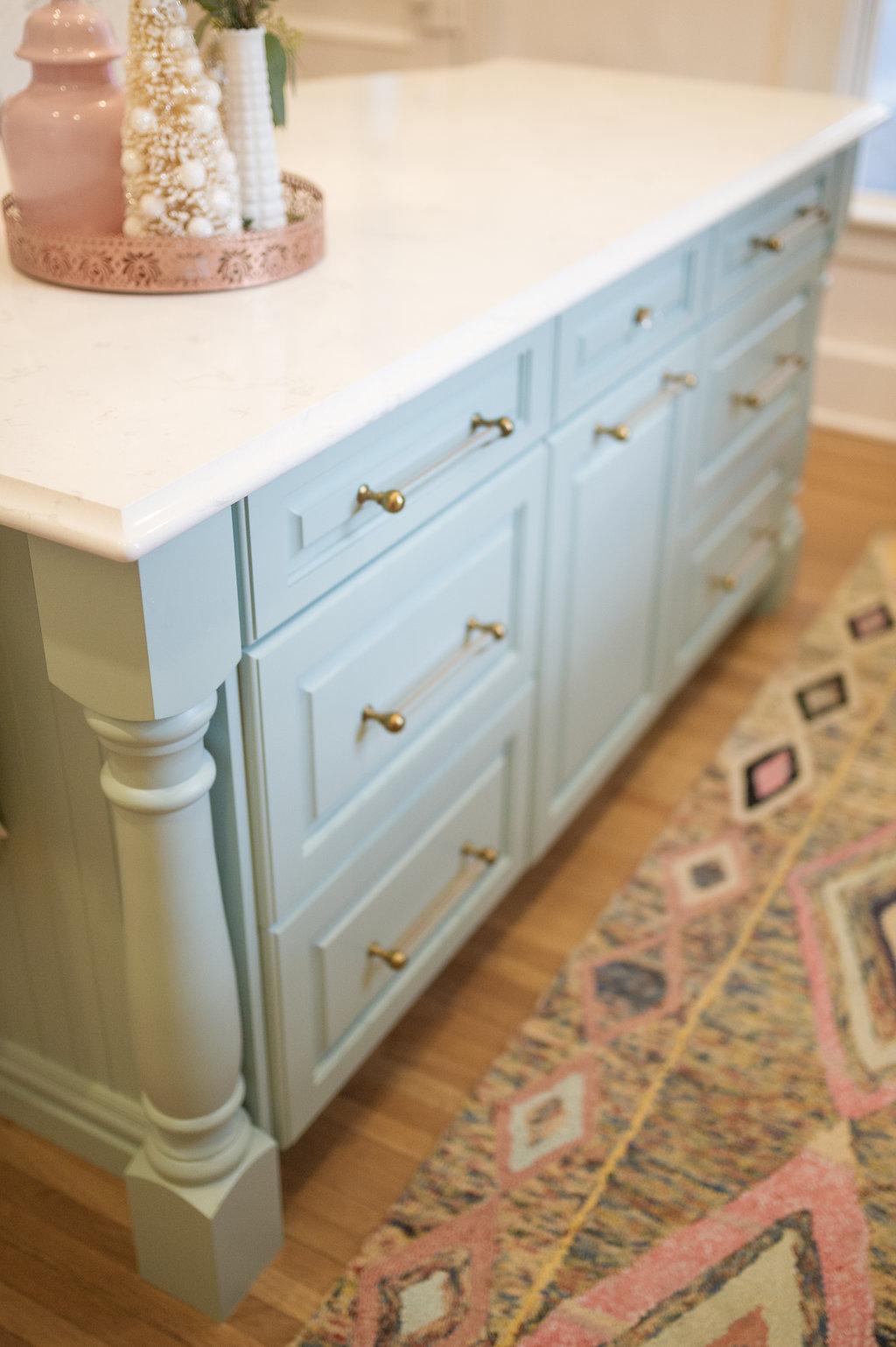 Wythe blue kitchen island glass and brass hardware