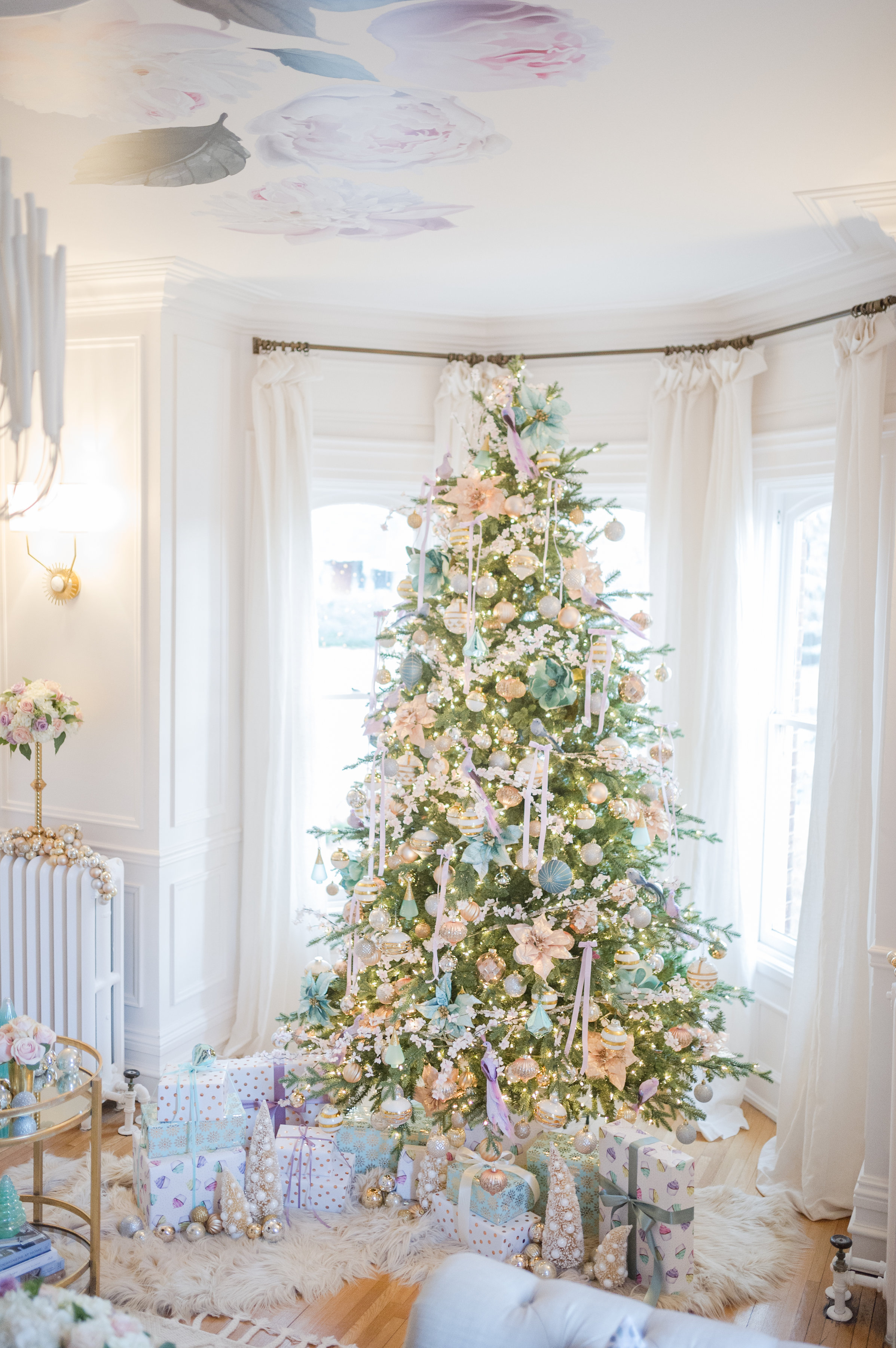 mint lavender modern parisian christmas tree