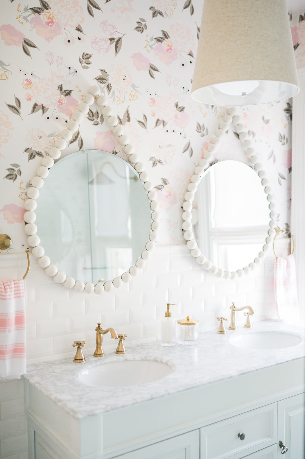 Airy Modern Feminine Bathroom The Leslie Style Floral Wallpaper