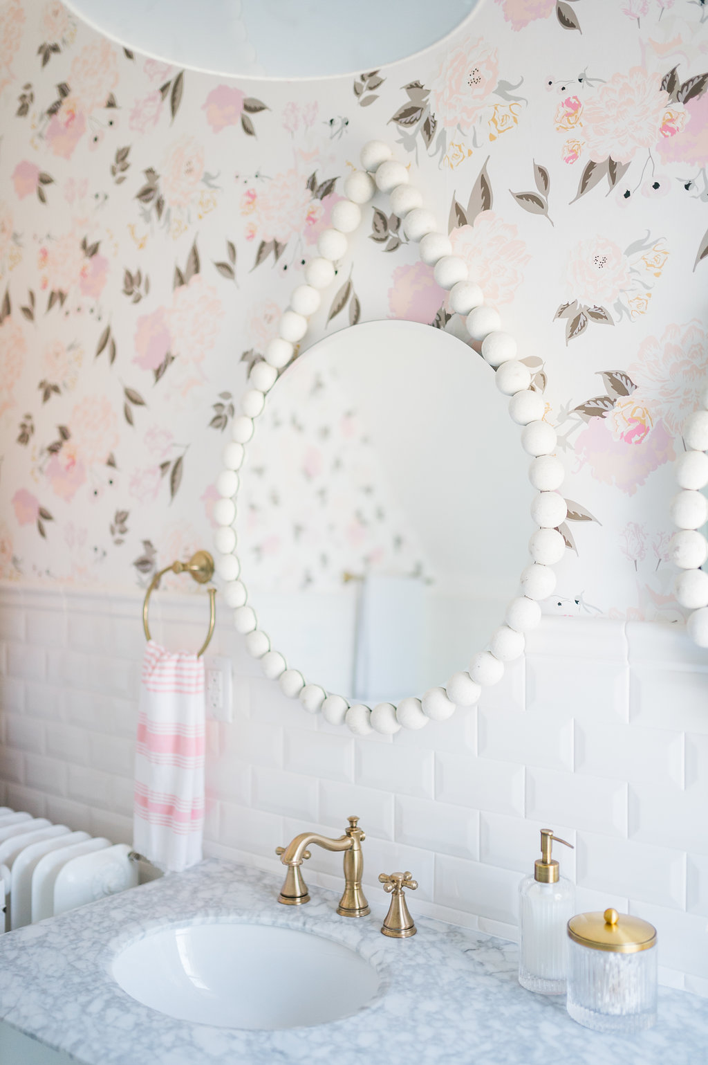 Tess Mirror Floral Wallpaper Airy Modern Feminine Bathroom The