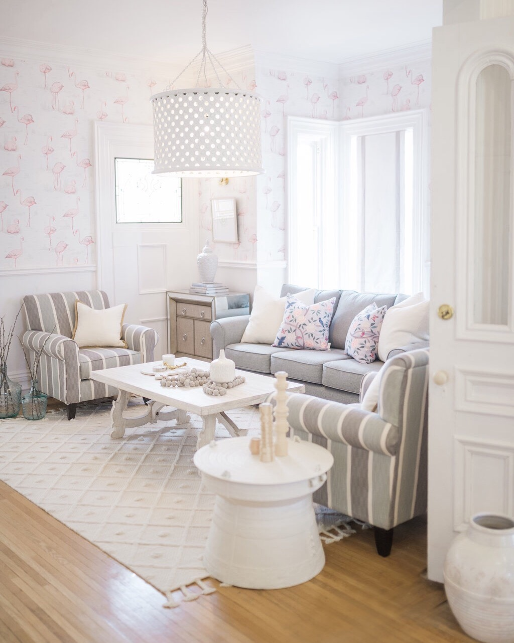 transitional glam family room the leslie style - The Leslie Style