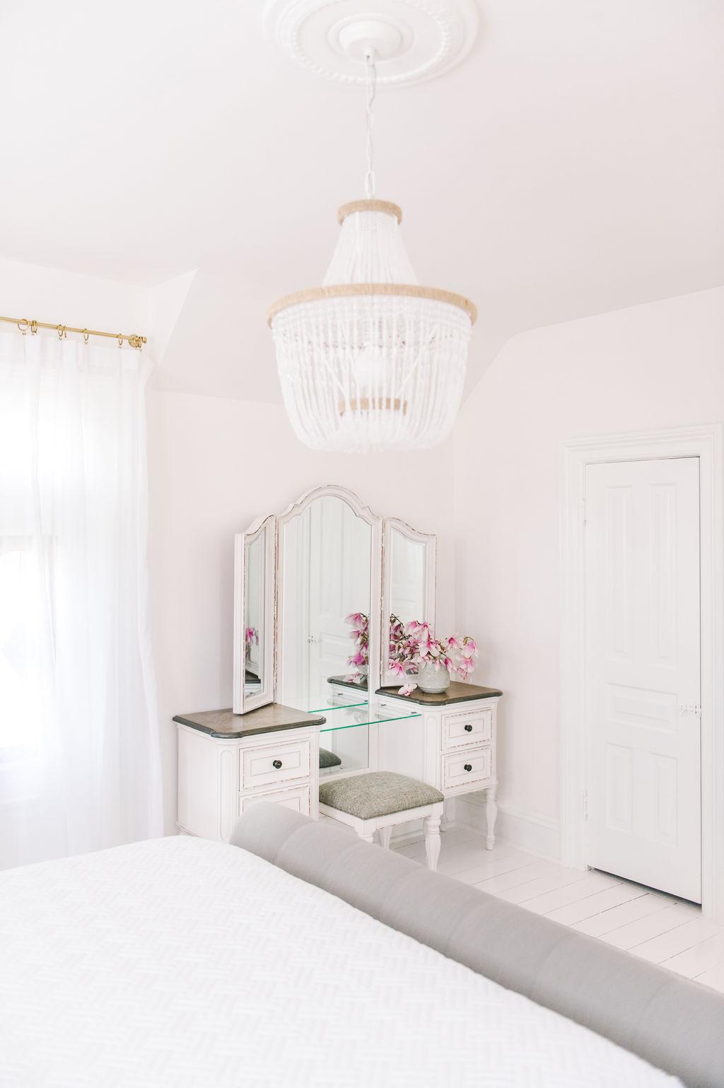 Dream Master Bedroom White Vintage Makeup Vanity Beaded Chandelier The Leslie Style